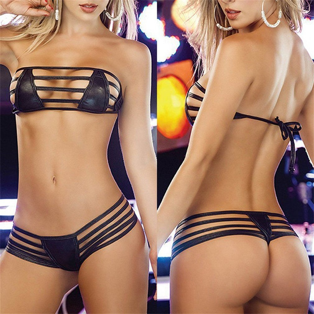 Sexy Wild Black Leather Women's Exotic Sets Lingerie Temptation Underwear Babydoll Sleepwear G-string Summer Swimsuits 2018 New