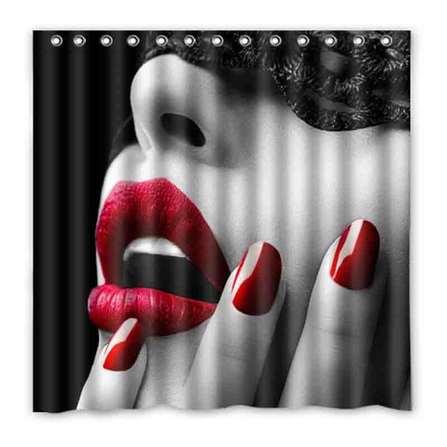 Sexy Red Lips Girl Yellow Feather Shower Curtains Custom Design Creative Curtain Bathroom Waterproof Polyester Fabric