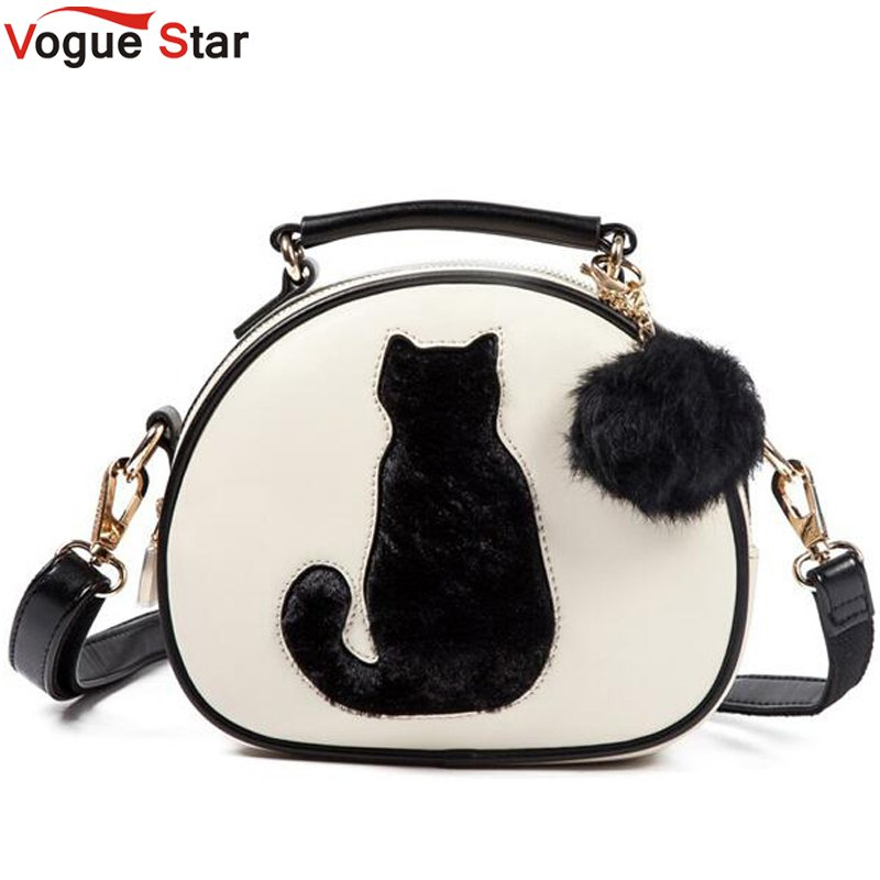 vogue-star-cartoon-women-leather-handbag-cat-pattern-fur-ball-design-tote-women-bag-bolsa-circular-women-messenger-bags