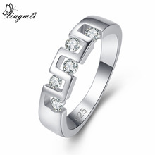 lingmei Womens Fashion Wedding Rings White Zircon Silver 925 Ring Size 6 7 8 9 Pretty Dazzling Christmas Gifts