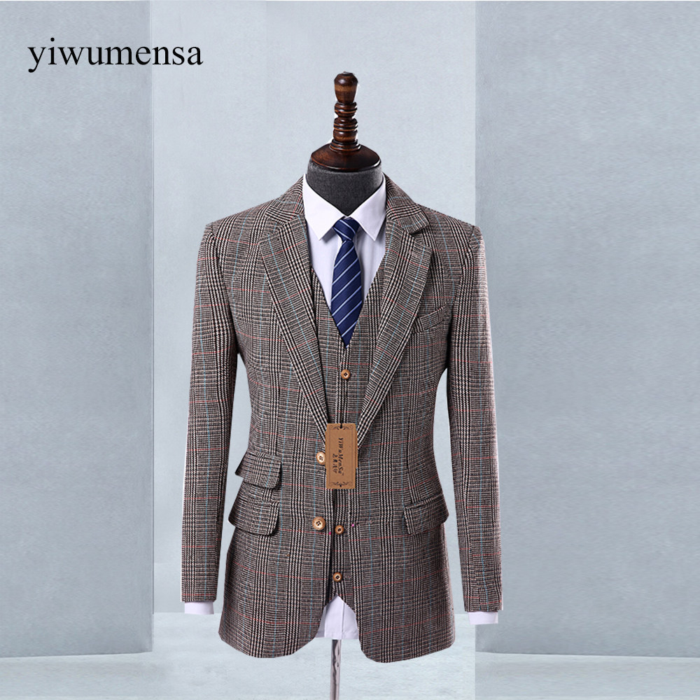 Online Shop Retro Light colored Brown tweed custom made Groom ...