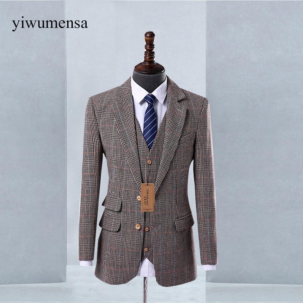 Tweed Wool Herringbone British Style Men Suit 2018 Custom Made Wedding Suit Slim Business Suit Groom Tuxedos Prom Suits Dress