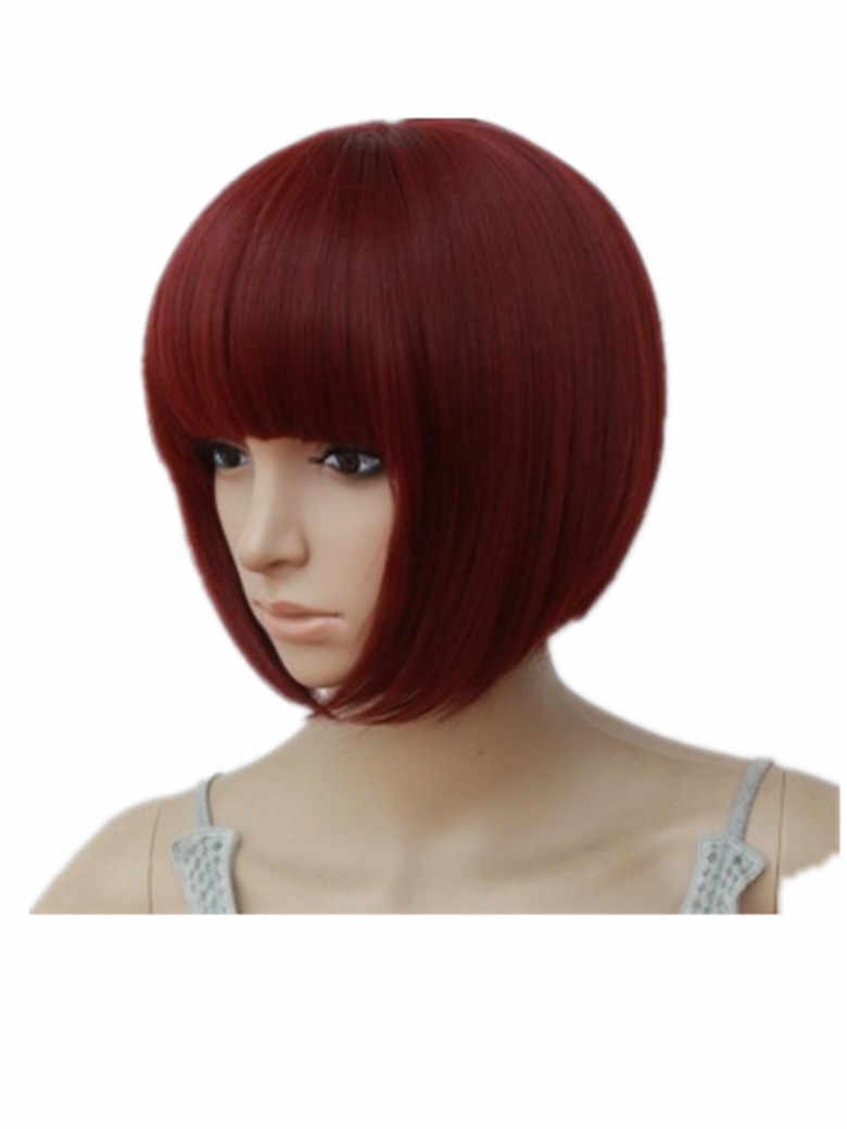 Fringe Wig Burgundy Wave Bangs Hair Synthetic Fiber Heat Resistant Short Wavy Fringe Wigs