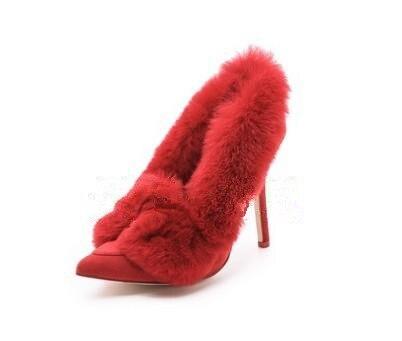 Solide Slip Fremale on Bout Sexy Fourrure Chaussures Rouge Pointu Mariage À Chaude Femme Ornée Talons Stiletto De Haut Robe Pompes dAqadI