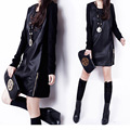 SENHORA PLUS SIZE EXTRAS couro preto de manga longa MINI vestido OCASIONAL das mulheres vestidos de playa navio livre