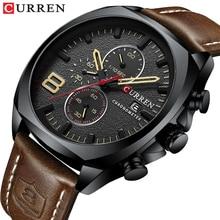 CURREN Fashion Sports Quartz Man Watch Calendar 3 Sub Dial Black Analog Clock Brown Genuine Leather Military Wristwatch Dropship