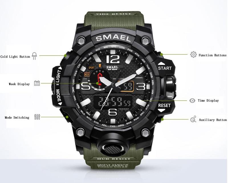SMAEL 2019 Men's Sport Wrist Watch Military Waterproof Man Dual Display Analog Digital Watch electronic Clock erkek kol saati (4)