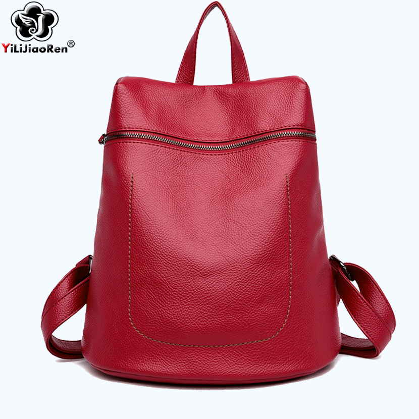 Fashion Anti theft Backpack Female Brand Leather Backpack Women Large Capacity Bookbag Simple Shoulder Bags for Women Mochila in Backpacks from Luggage Bags