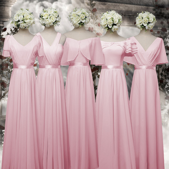 Online get cheap gold bridesmaid dresses for Pink and blue wedding dresses