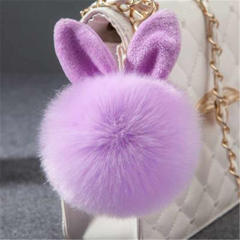 Fantasia e fantasia de pele pom pom chaveiro fofo coelho chaveiro chaveiro coelho falso saco do bulbo de cabelo do coelho ornamento do carro bola de pele chaveiro