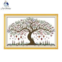 Joy sunday scenic style Love tree free cross stitch patterns charts stitchery kits wall painting for home decoration