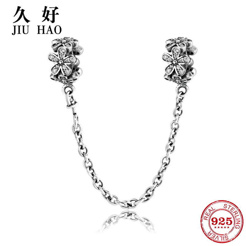 Real 925 Sterling Silver Charm Flower Safety Chain Beads diy for fashion Fit Original Pandora Charms Bracelet Jewelry making real 925 sterling silver charm flower safety chain beads diy for fashion fit original pandora charms bracelet jewelry making
