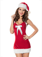 Hot Sale Women Party Dress Christmas Santa Pattern Strapless Dress Large Bodycon Dresses Sexy Cosplay Oversized