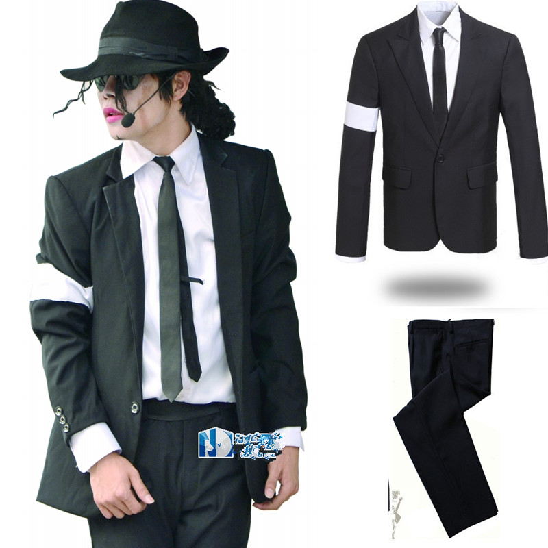 Rare MJ Michael Jackson Dangerous Armband Black Suit Blazer Full Outfit For Prefromance Party Show Gift
