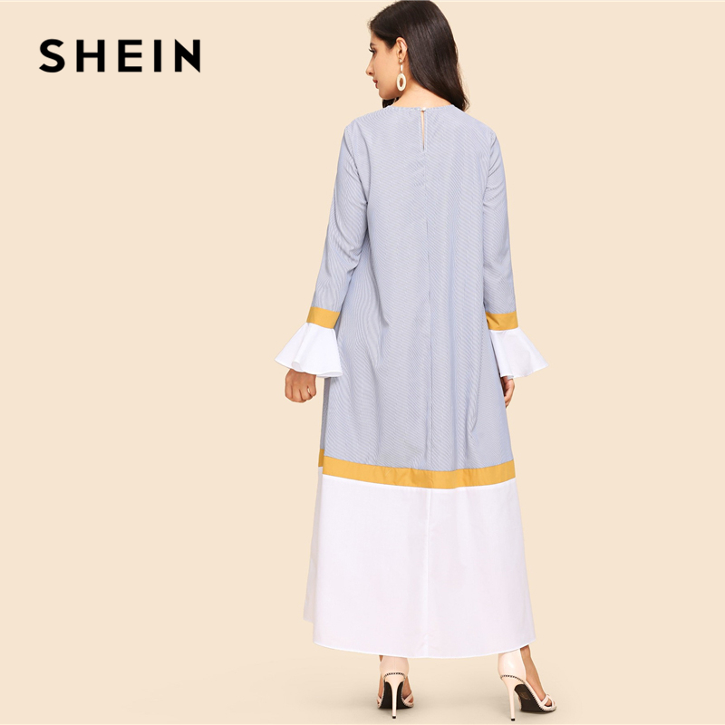 cbce37734f SHEIN Abaya Multicolor Waist Belted Bell Sleeve Color Block Flounce Sleeve  Long Dress Casual Women Autumn Modern Lady Dresses-in Dresses from Women's  ...
