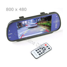 100% New Car 7 inch 7″  TFT LCD Rear View Mirror MP5 SD Card USB Monitor 2CH Video Input Touch Button Free Shipping