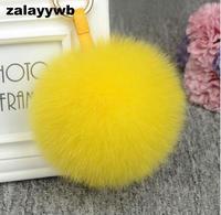 Zalzyywb 13 cm Luksusowe Puszyste Istny Fox Fur Ball Pom Pom Pluszowe rozmiar Prawdziwego Futra Breloczek Brelok samochodowy Metalowy Pierścień Wisiorek Torba urok
