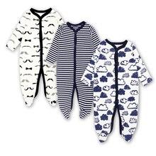 Детская одежда для новорожденных и малышей, комбинезон для младенцев с длинными рукавами, хлопковый комбинезон для сна для мальчиков и девочек 3, 6, 9, 12 месяцев