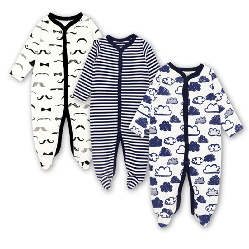 Newborn Toddler Infant Baby Boys Girl Jumpsuit Long sleeve Romper 0-12 months Clothes 3 pieces Print Outfits toddler infant baby boys girls denim romper jumpsuit children clothing boy girl costume long striped sleeve outfits playsuit