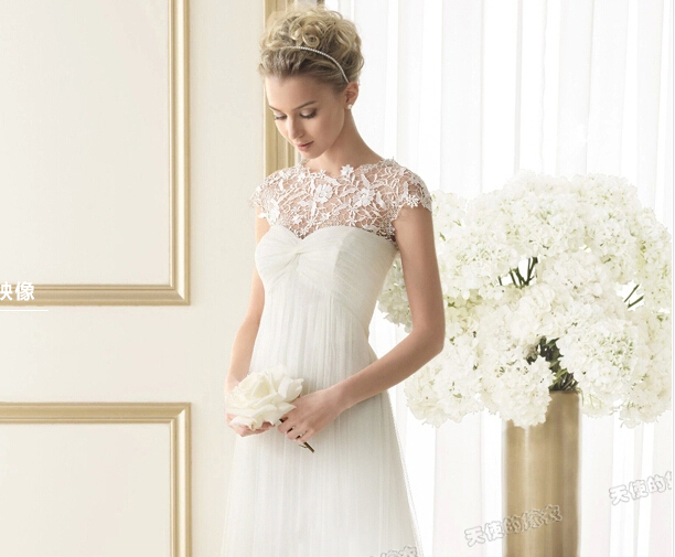 2015 Elegant Chiffon Straight Wedding Dresses Princess Real Picture ...