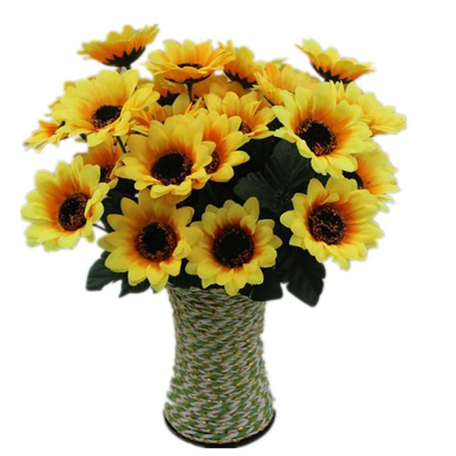 7 headsbouquet yellow silk sunflower artificial flower wedding 7 headsbouquet yellow silk sunflower artificial flower wedding bouquet flores home party decoration mariage mightylinksfo