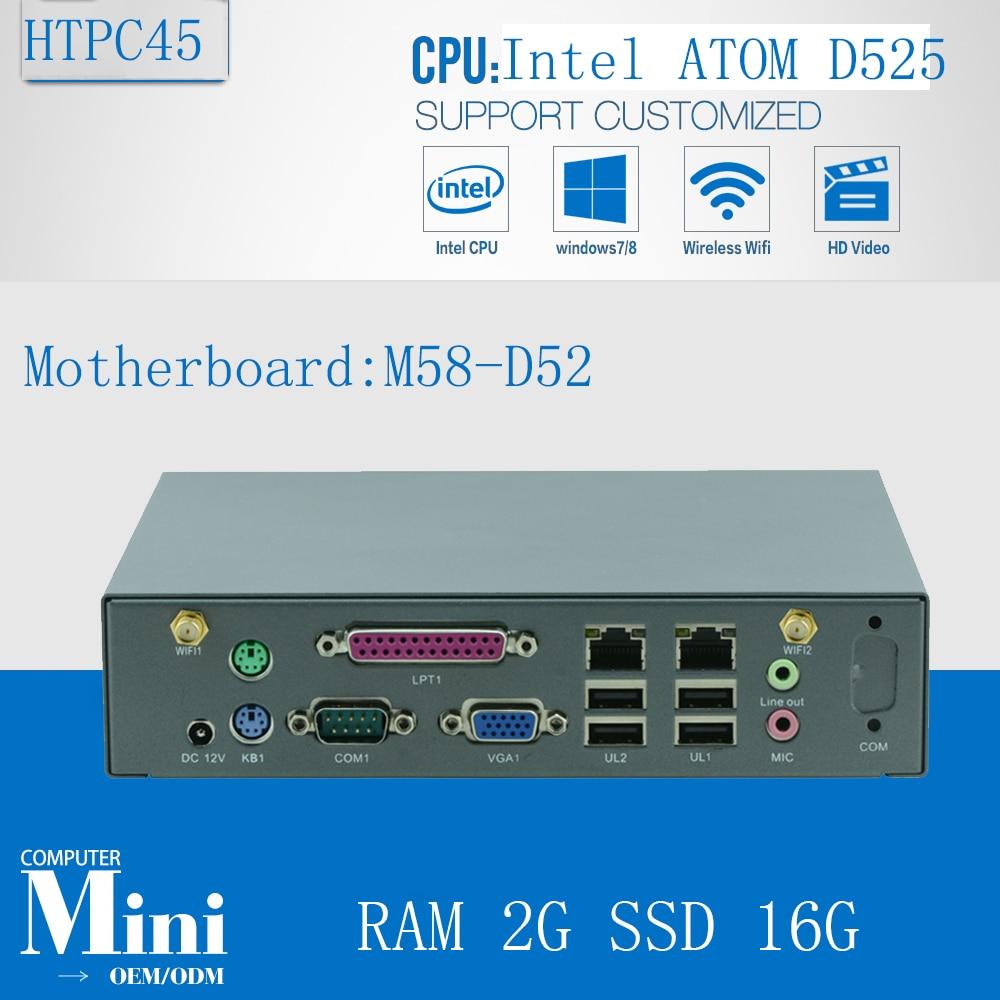 Minipc Linux Nettop Mini Media PC  D525 Support Win 7, WIFI, Webcam, VGA,2G RAM 16G SSD