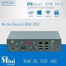 Minipc Linux Неттоп Mini Media PC D525 Поддержка Win 7, WI-FI, веб-камера, VGA, 2 Г БАРАН 16 Г SSD