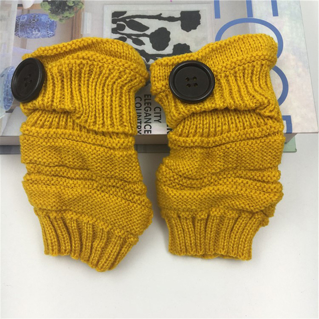 Womens Winter Gloves Without Fingers Knitting Wool Warm Mittens