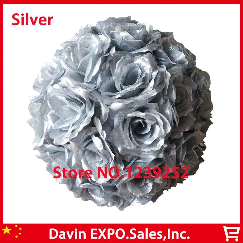 Nový 10ks / Lot 20cm Super Elegantní stříbrná hedvábná růže Umělá květina míč líbání míč pro svatební party DIY svatební květina Decor
