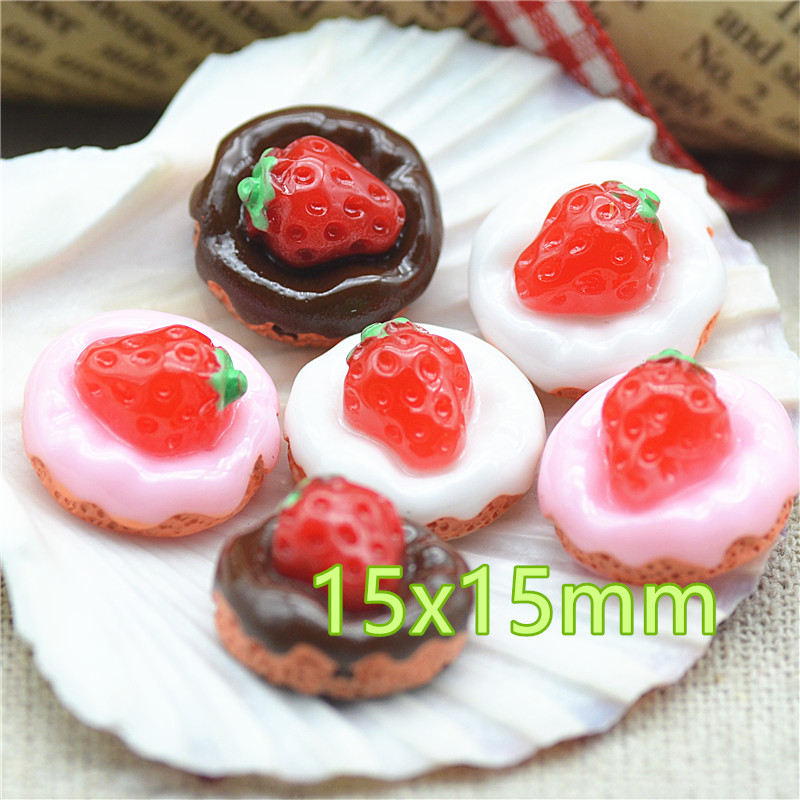 Resin Strawberry Cake Mix 3 Color Flat Back Dessert Candy Cabochon Crafts For Decoration