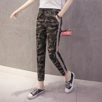 Thin Section Casual Women Pants Nine Pants 2017 Summer Lady New Camouflage Spliced Hole Harlan Pants