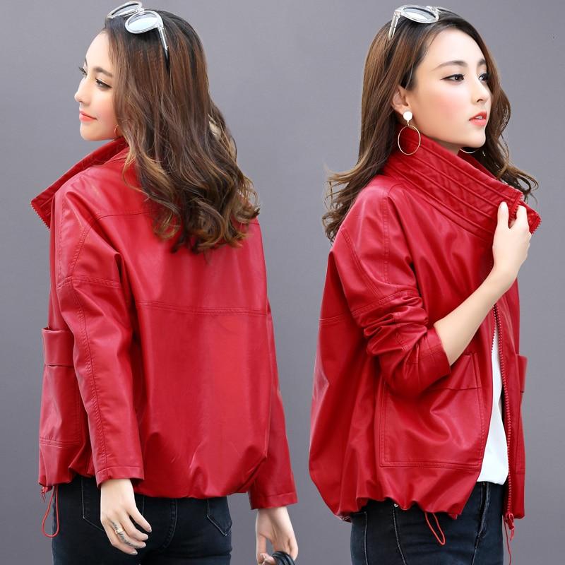 Nevettle Motorcycle Loose Faux Leather Jacket Women Street wear Harajuku Short Coat Autumn