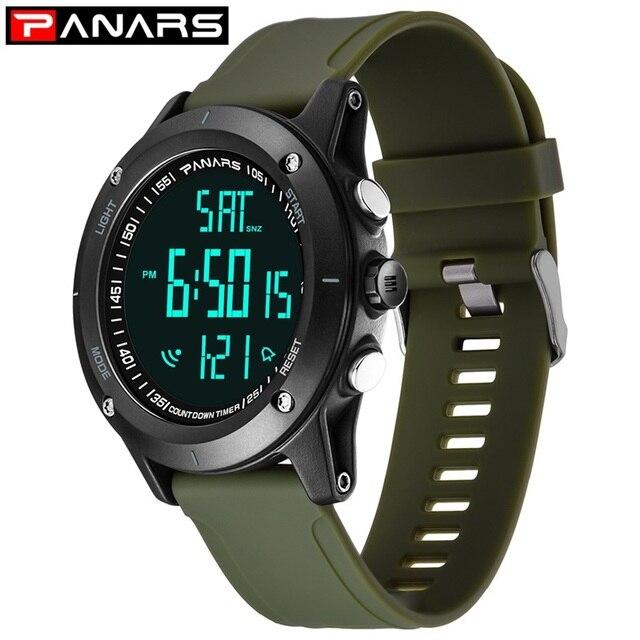 comprar popular 326f3 e9ee0 PANARS nuevo reloj deportivo para hombre, Digital resistente al agua, de  cuenta regresiva, pulsera LED relojes 8014