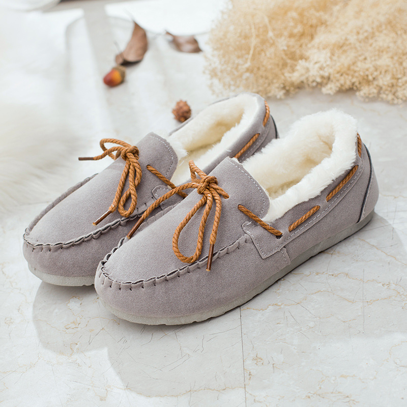 Brand U Women Loafers Shoes with Fur slip on Women Flats Bowtie Casual Ladies Ballerina Flats Shoes women shoes slip on womens flats shoes loafers faux suede womens ballerina flats casual comfort ladies shoes plus size 35 43