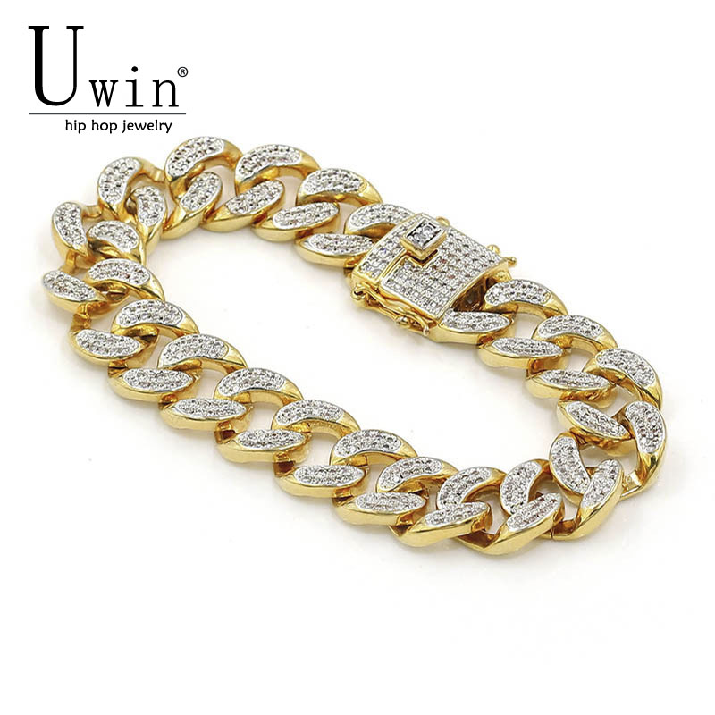 UWIN 14mm Miami Cuban Link Bracelet Iced Out Micro Pave Zircon Hip hop  Fashion Punk Chain 2358562f3e12