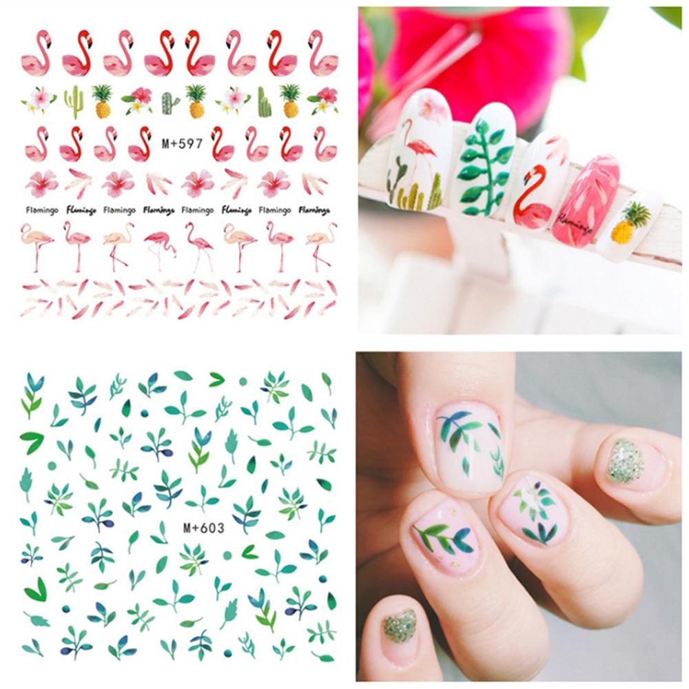 Nail Art Water Transfer Stickers Women Nails Art Tools Fashion DIY Nail Gel Styling Tool Nails Stickers Flamingo Summer ins