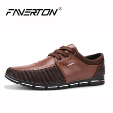 [FAVERTON] Handmade Genuine Leather Men's Shoes Slip on Men's Casual Flats Moccasins Boat Shoes Loafers Brand Men Driving Shoes