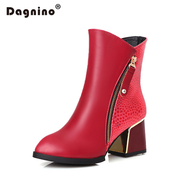 DAGNINO New 2017 Women Ankle Boots Plus Size 34-43 Square High Heels Zip Pointed Toe Classic Fashion Woman Shoes Black Yellows