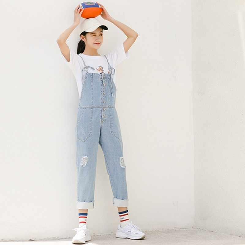Комбинезоны для Для женщин корейские потертые джинсы комбинезоны Регулируемый Lace-up Denim Комбинезоны с карманами свет синие джинсы комбинезон