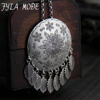 Fyla Mode Thailand Vintage Old Stereo Tassel Sweater Chain Large Pond Lotus Leaves 925 Handmade Silver