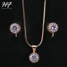Clásico Sistema de La Joyería para Las Mujeres con 1 Par de Pendientes y 1 de Oro Blanco Plateado CZ Piedra Colgante de Collar de Cadena S169