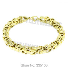 Free shipping! Gold Box Chain Motor Biker Bracelet Stainless Steel Jewelry Cool Heavy Motorcycle Men Bracelet SJB0271A