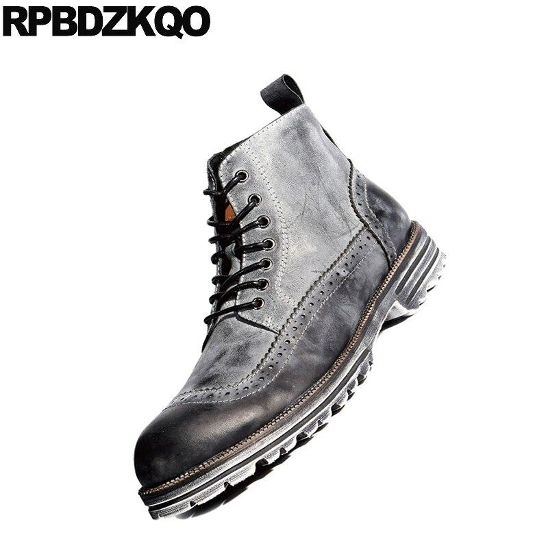 Durable verde Completo Calidad Gris Botines Alta Hombres Contra Los Cuero Moda Botas Seguridad Tobillo Cortos Militar Grano Zapatos Del Plataforma Ejército De Masculina x61Exn70B