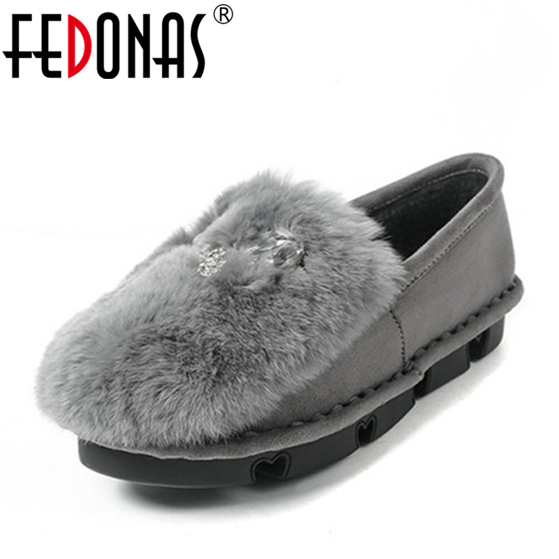 FEDONAS New Arrival Fashion Women Rhinestone Flat Winter Shoes Warm Loafers Plush Inside Snow Female Rabbit Fur Casual Shoes 2017 fashion winter flat fur shoes women rabbit fur tide lazy shoes slip on casual plus velvet loafer shoes autumn new arrival