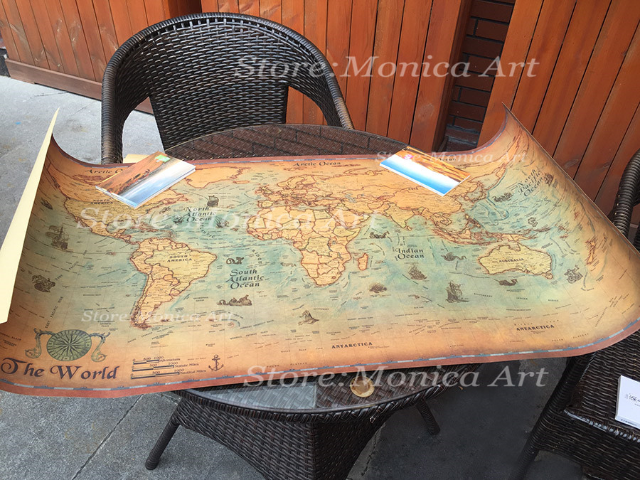 Large retro World Map Kraft Paper Paint vintage Wall Sticker Poster ...