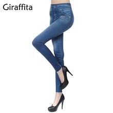 Giraffita 2017 Women New Fashion Classic Stretchy Slim Leggings Sexy Imitation Jean Skinny Jeggings Pants Autumn Winter 3 Colors