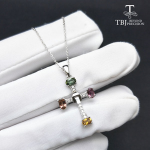 Image 3 - TBJ ,Elegant cross design with natural tourmaline multicolor gemstone necklace in 925 sterling silver fine jewelry with gift box