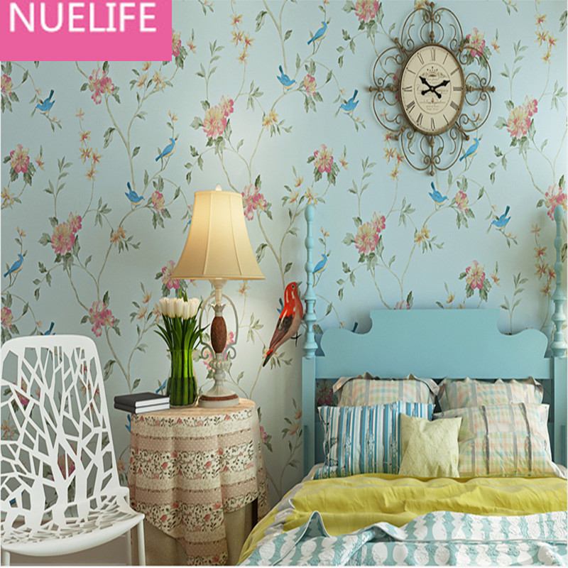0.53x10 meters American Village Flower and Bird Pattern Wallpaper  Bedroom  Living Room Sofa TV Wall Nonwoven wallpaper large mural papel de parede european nostalgia abstract flower and bird wallpaper living room sofa tv wall bedroom 3d wallpaper