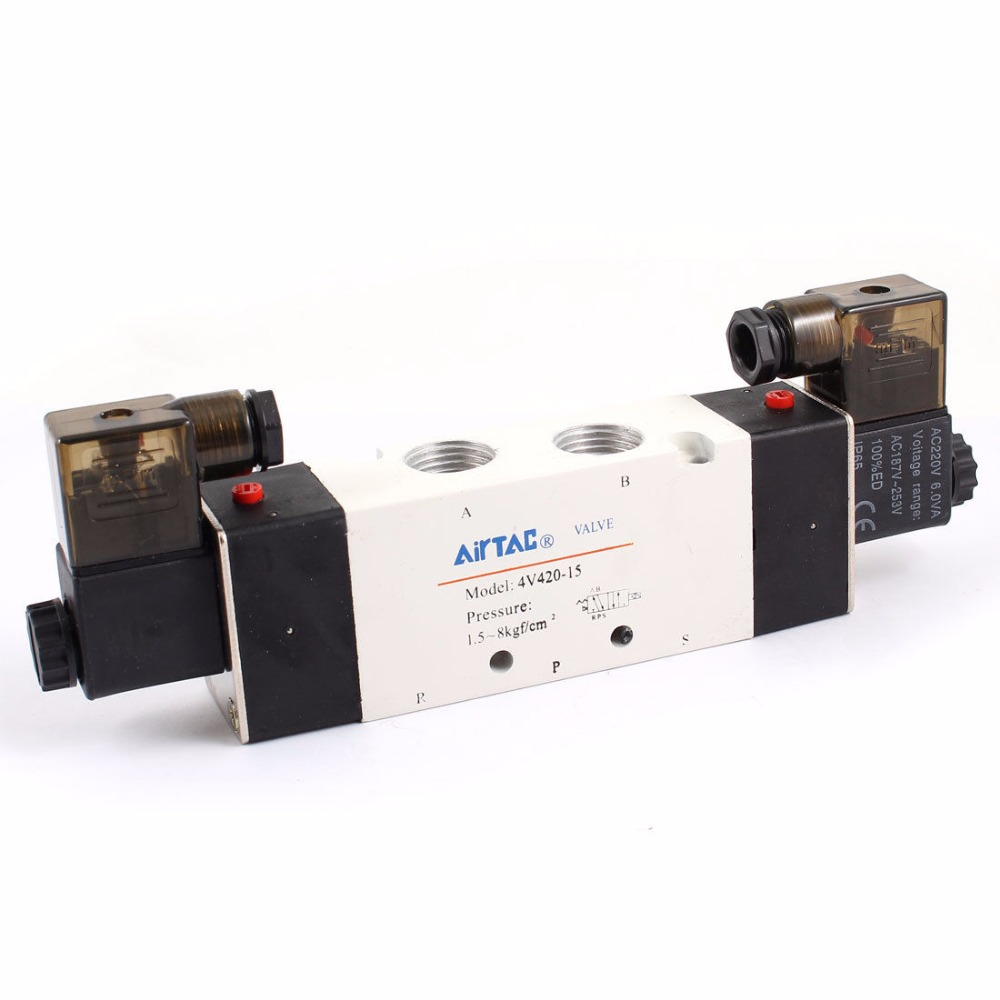 4V420-15 5 Ports 2 Position Double Solenoid Pneumatic Air Valve 1/2 BSPT 3v420 15 ac110v 3port 2pos 1 2 bspt solenoid air valve double coil led light