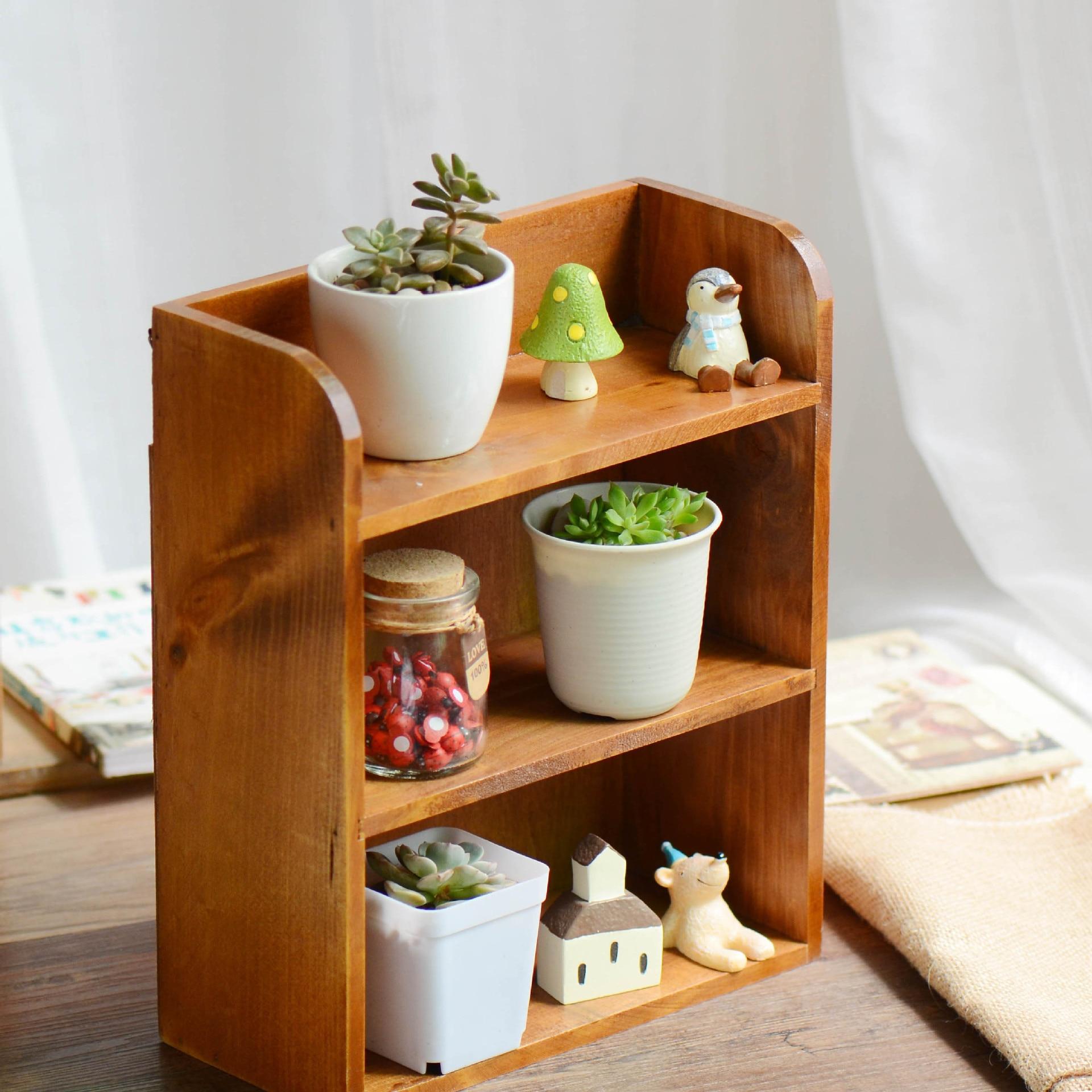 Zakka Vintage Style Wooden Storage Rack Wall Shelf 3 Layers Wall Hanging  Cabinet Storage Box Home Decoration CD329